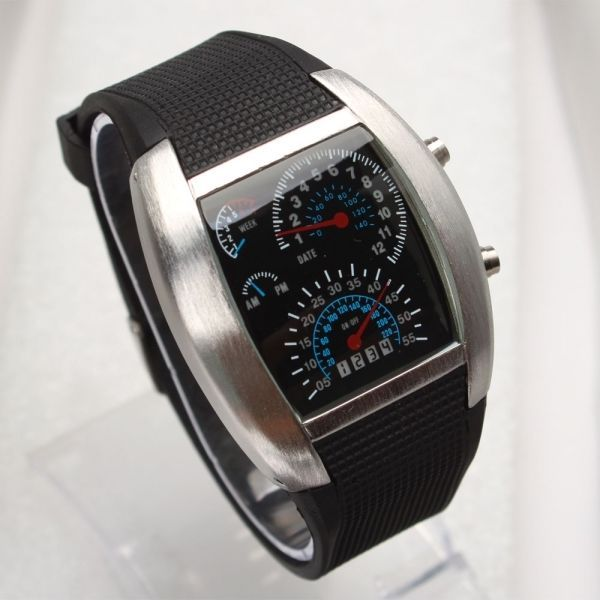 Wrist Watch Fashionable Blue LED Light Steel Case Aviation Speedometer Analog