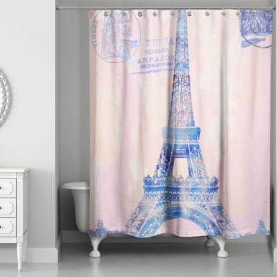 Designs Direct Watercolor Paris Shower Curtain In Pink Purple