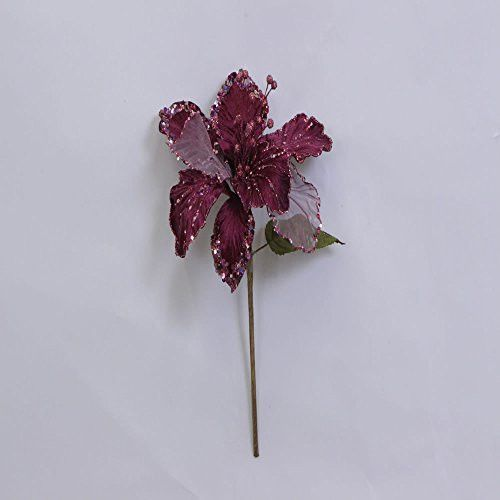 27 inch Mauve Glitter Velvet Sheer Amaryllis Decorative Christmas Pick Featuring 1 Glitter Accented 7.5 inch Flower Head.