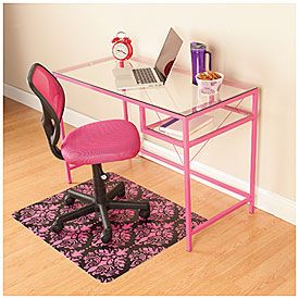 Rose Pink Glass Desk Office Furniture Set Furniture Pink Office