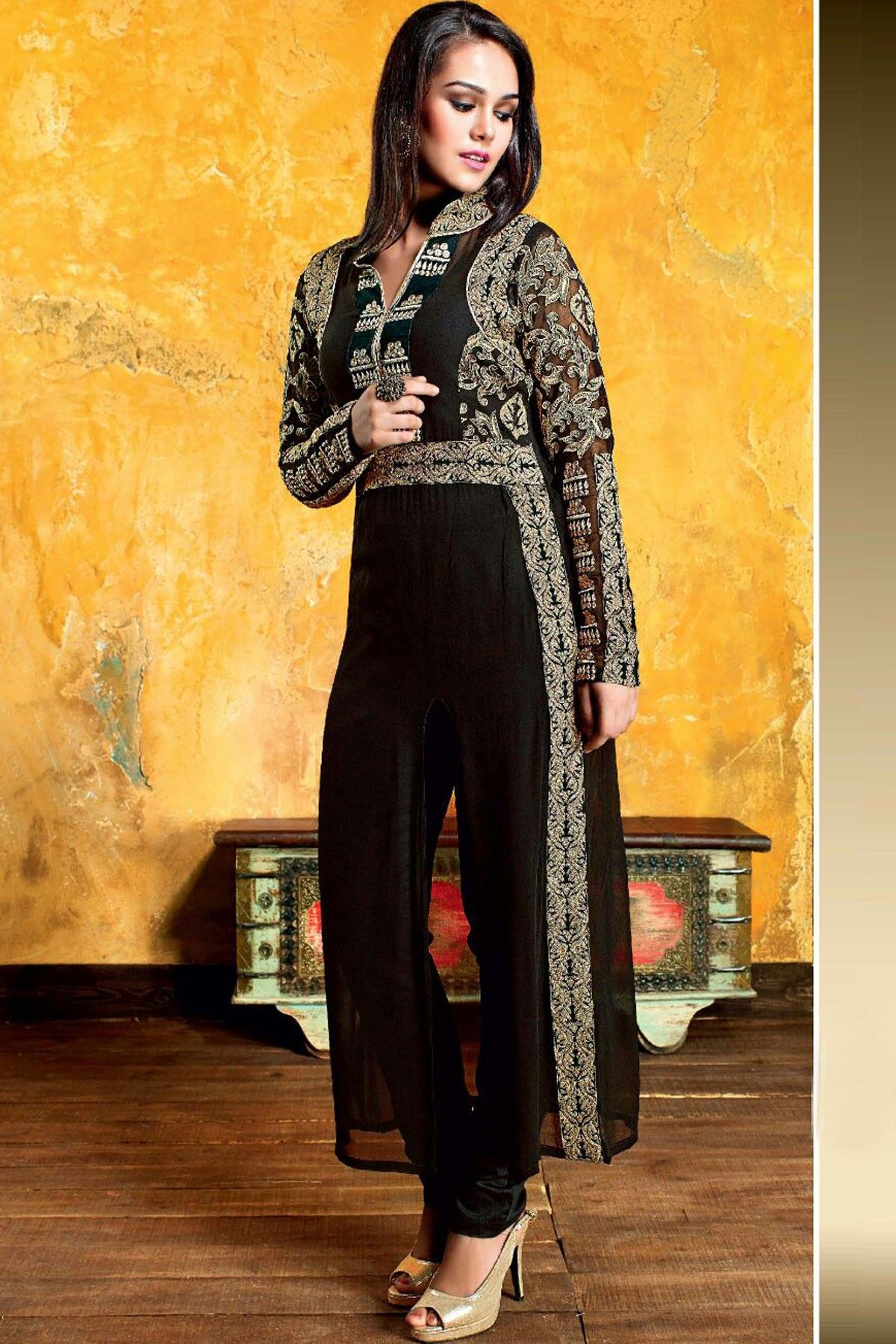 89c10aaaad Black & oxidised gold georgette straight cut lovely kurti with standing  collar -SL3802 #black #gold #straight #cut #kurti #designs #latest  #exclusive #nice ...