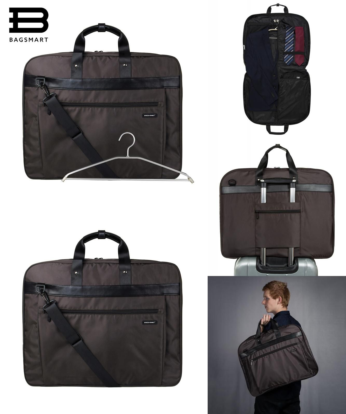 1c58bbeaa1  Visit to Buy  BAGSMART Lightweight Black Nylon Business Dress Garment Bag  With Handle Clamp