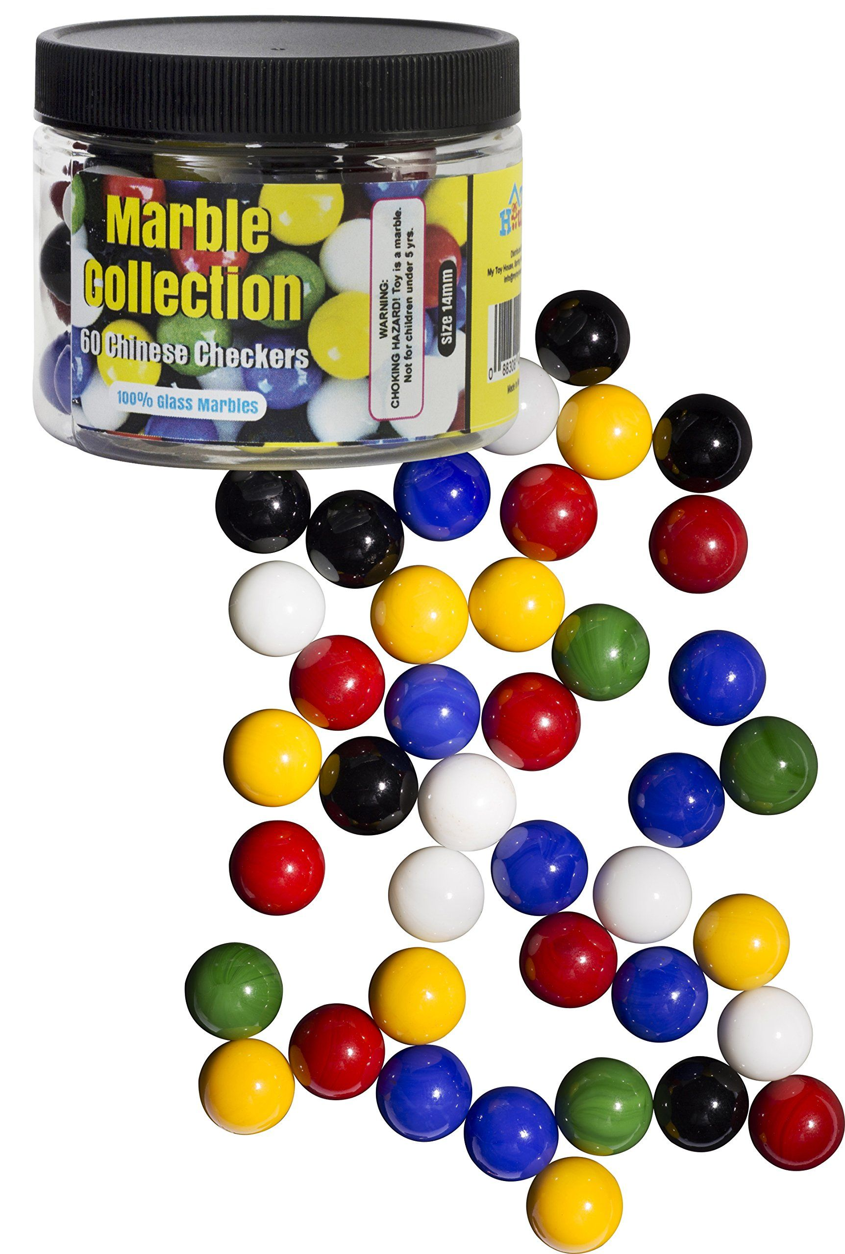 Chinese Checkers Glass Marbles Set Of 60 10 Of Each Color With Portable Container With Marble Jar For Easy Storage And Endl Glass Marbles Marble Jar Marble