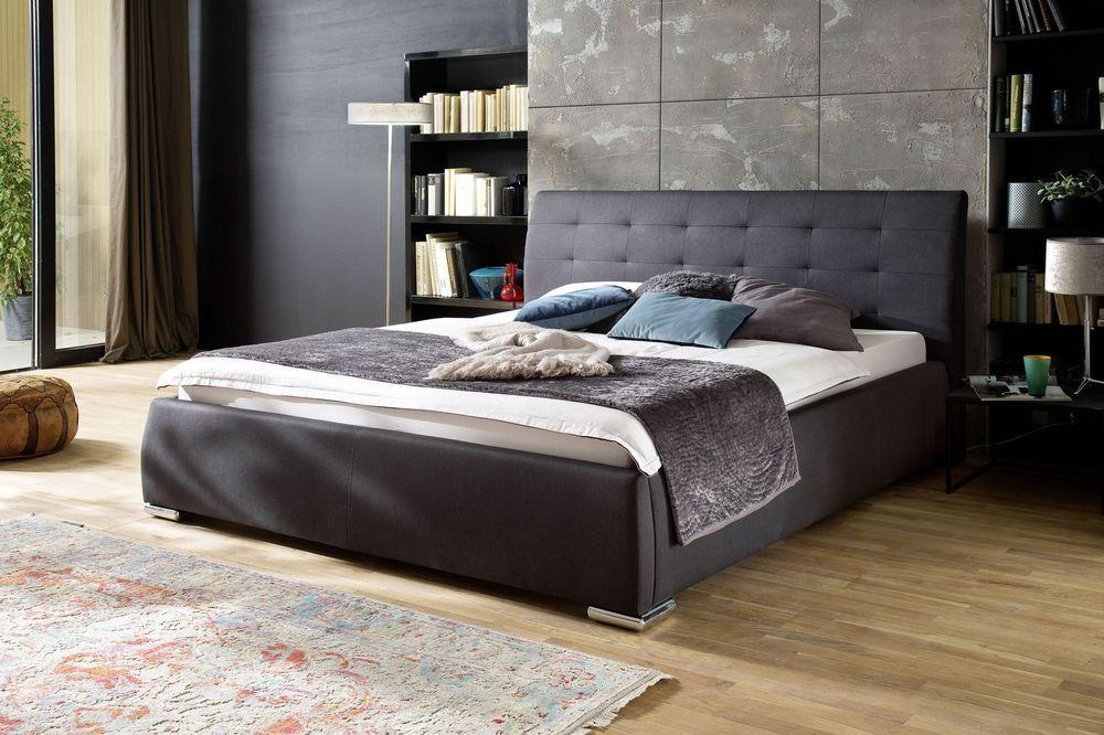 Polsterbett Bett 180 x 200 cm Webstoff anthrazit Woody 28