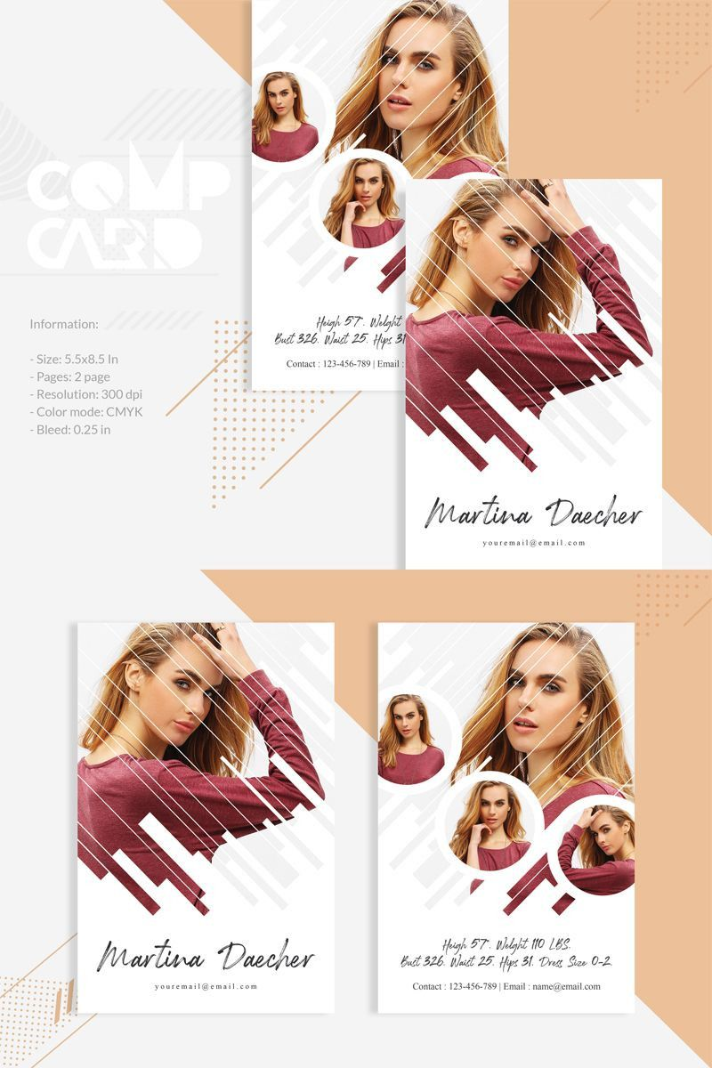 Free Comp Card Template Model Comp Card Card Templates Free Card Template