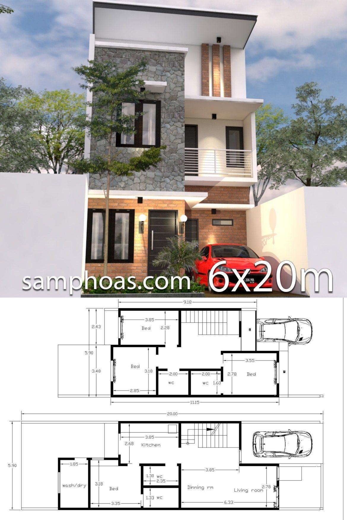 6x20m House Design 3d Plan With 4 Bedrooms Samphoas Plansearch 3d House Plans Model House Plan Architectural House Plans