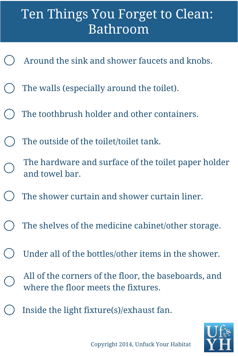 Checklist Of Things To Clean In The Bathroom  Getcha Shit Extraordinary Bathroom Cleaning Schedule Inspiration Design