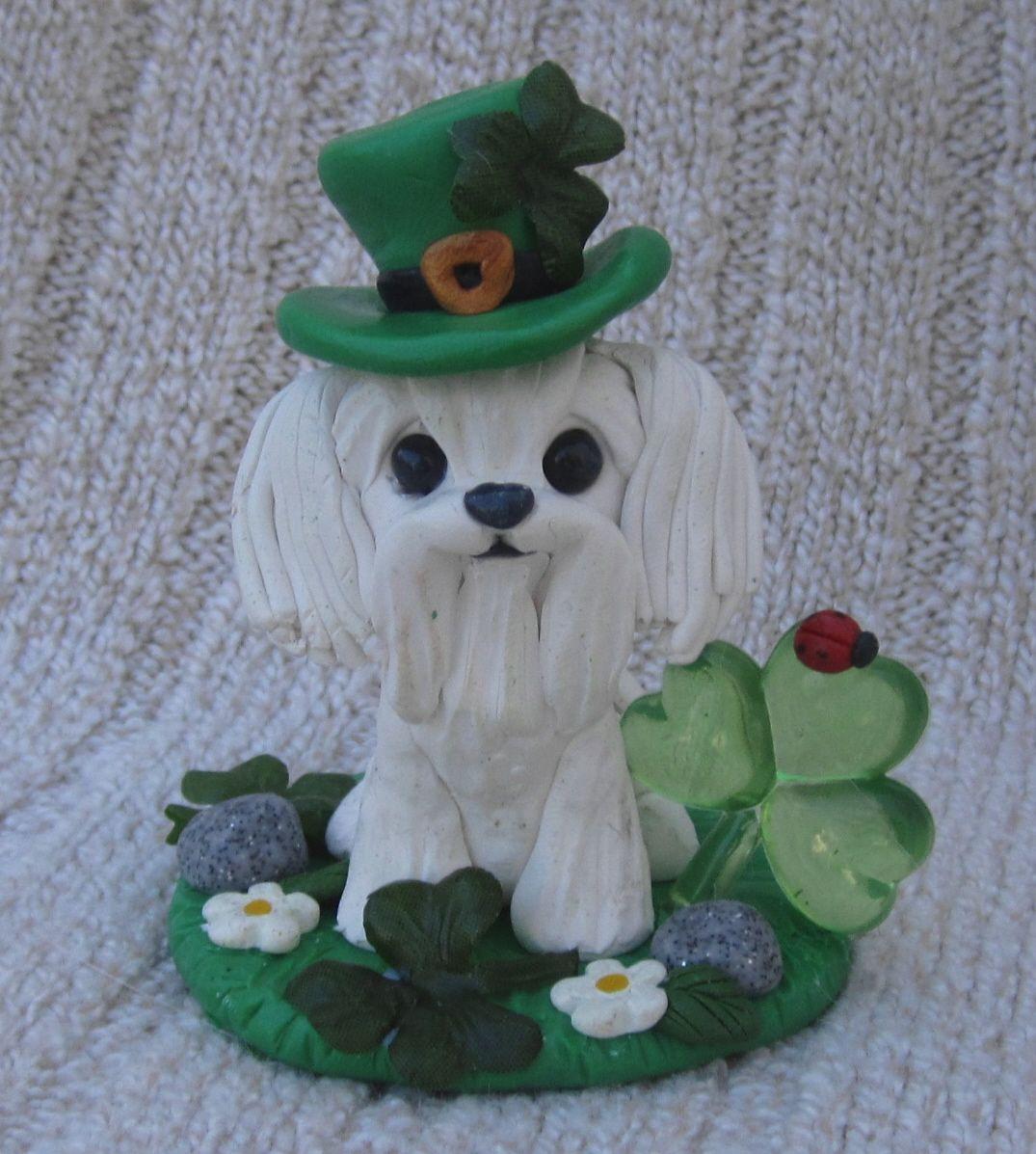 Irish maltese dog sculpture polymer clay sculptures
