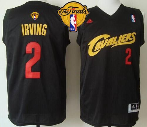 newest collection b56c5 8288e Cavaliers  2 Kyrie Irving Black(Red No.) Fashion The Finals Patch Stitched  NBA Jersey