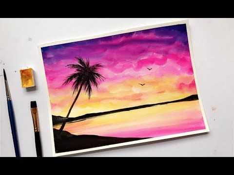 Palm Tree Colorful Sunset Watercolor Painting Tutorial Youtube