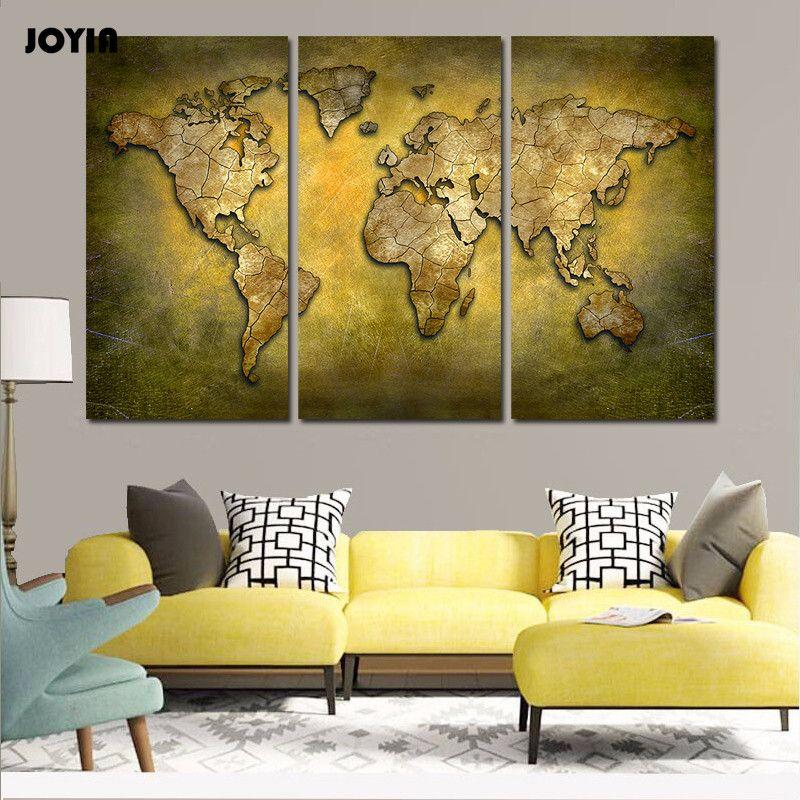 Vintage World Map Canvas Painting Large Ocean Maps Brassine Art ...