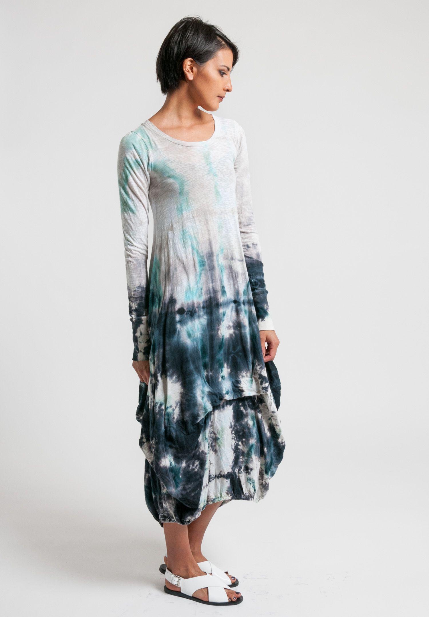 f7cea8c25998c Gilda Midani White & Blue Pattern Dyed Balloon Dress   Santa Fe Dry Goods # dress #aqua