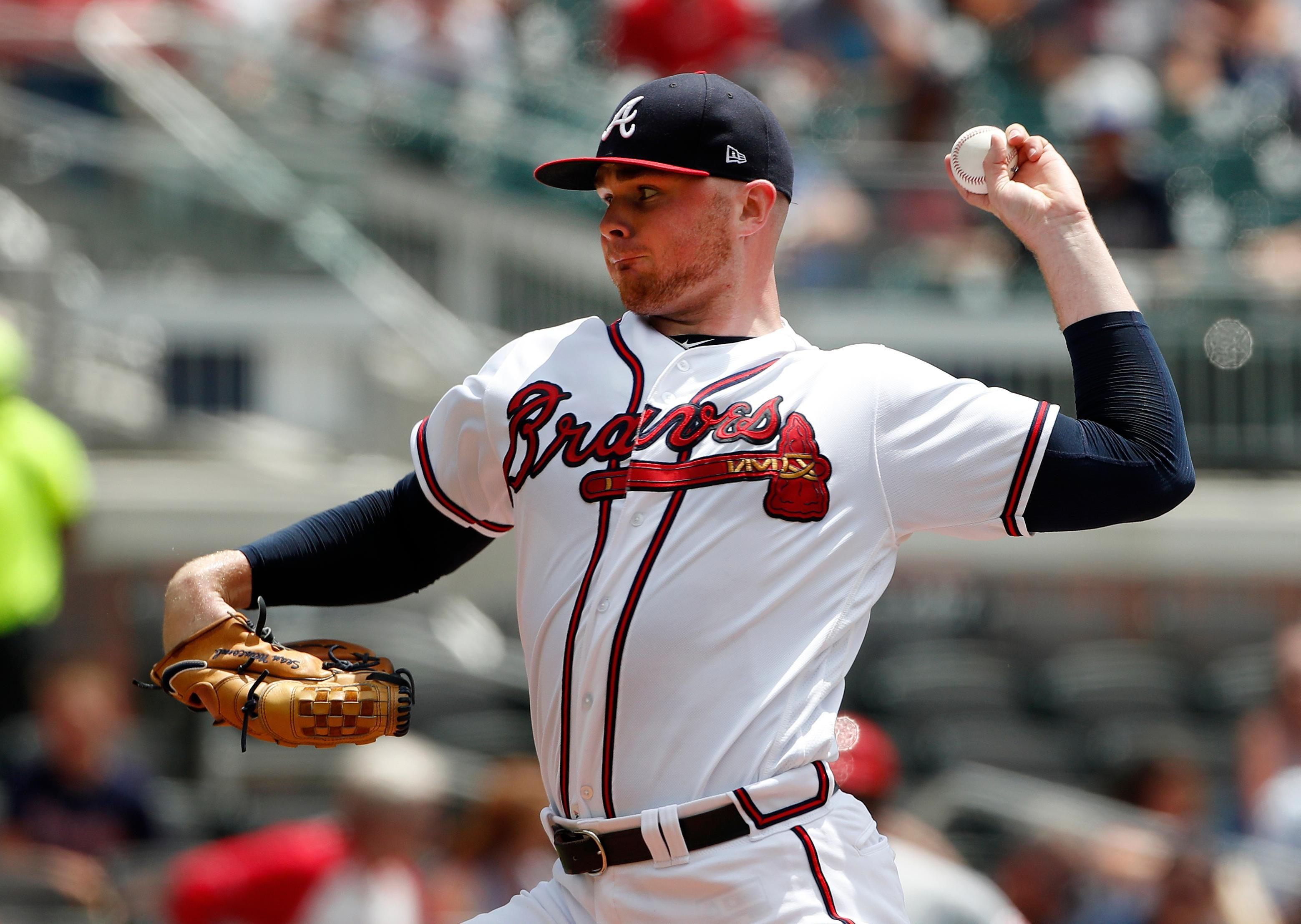 Atlanta Braves Starting Pitcher Sean Newcomb 15 Works Against The Cincinnati Reds In The First Inning Of A Baseball Gam Braves Atlanta Braves Cincinnati Reds