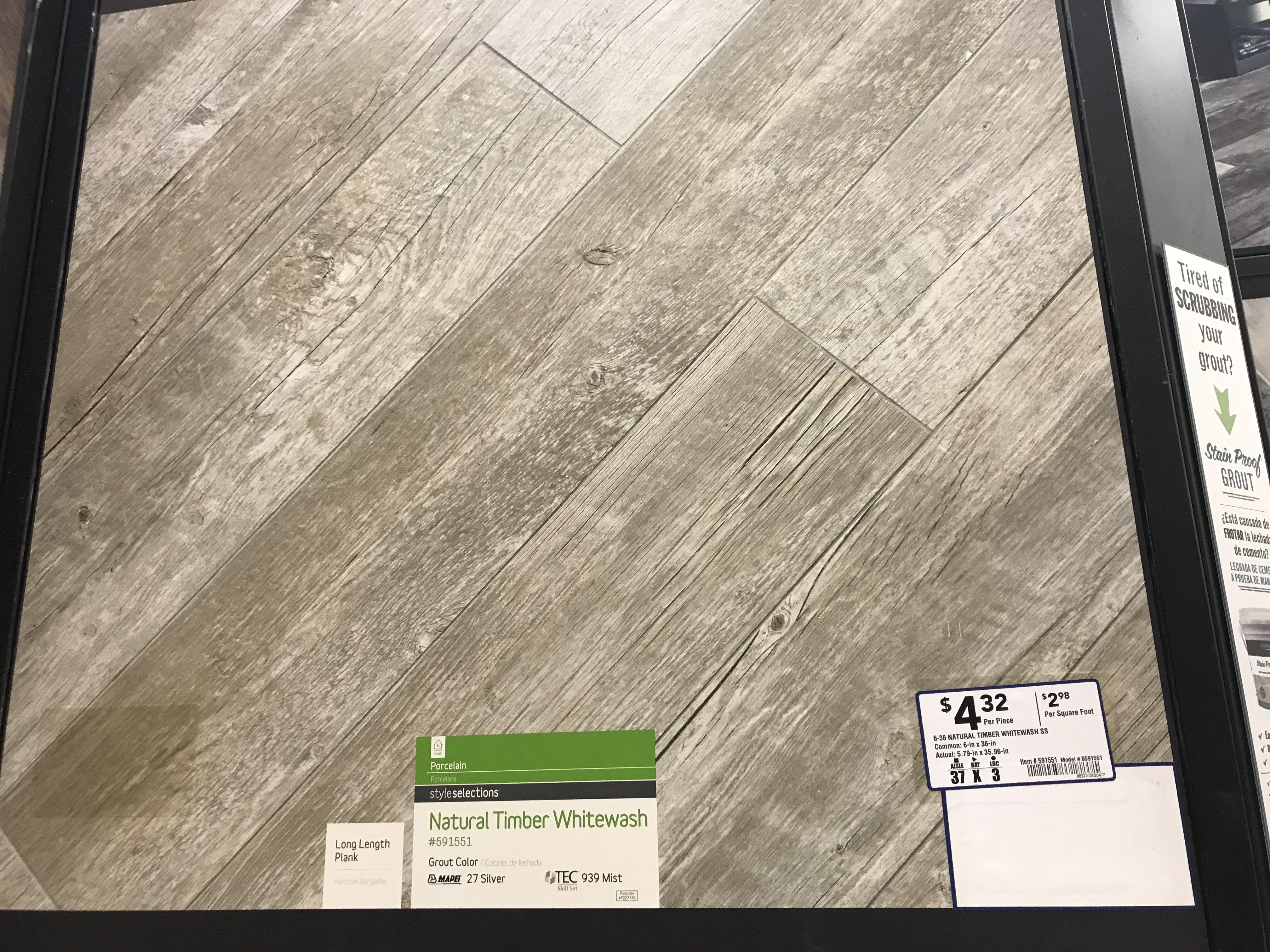 Wood look porcelain tile floor Option 2 Lowes