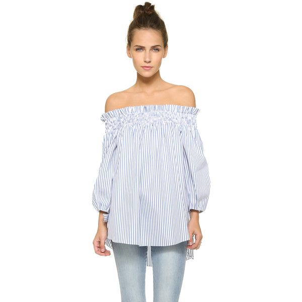 ea3028e29a0270 Caroline Constas Lou Off the Shoulder Blouse ( 390) ❤ liked on Polyvore  featuring tops