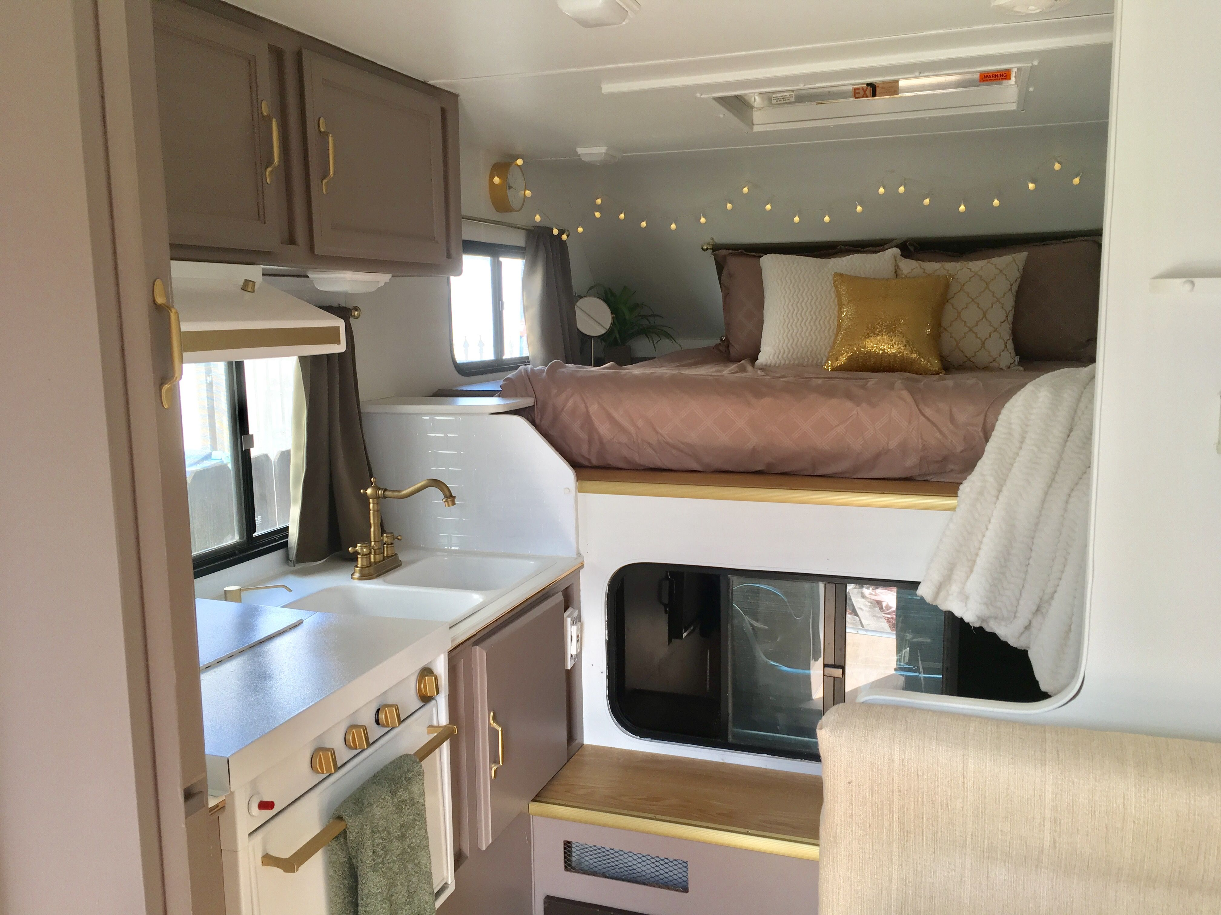 Truck camper trailer remodel before and after insta sara for Campervan kitchen ideas