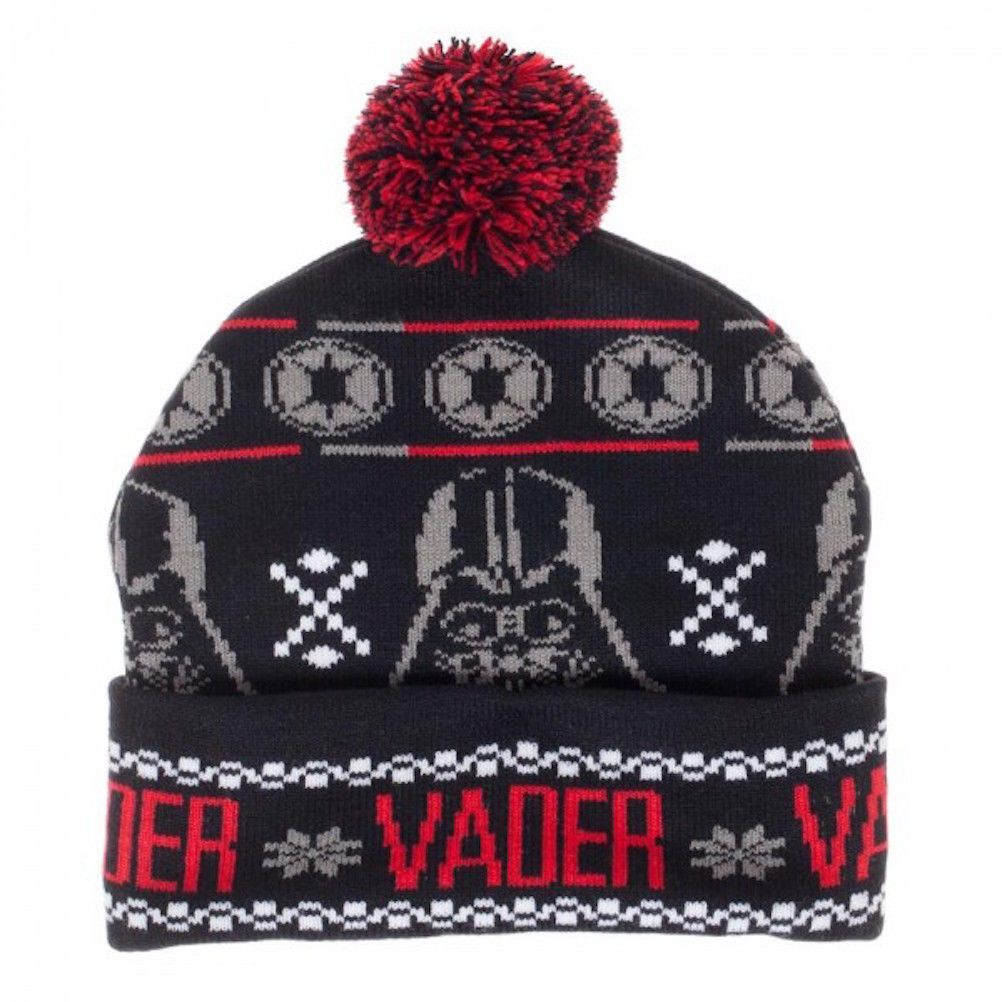 215edfc38d6 Star Wars Darth Vader Mask and Logo Knit Cuffed Beanie with Pom on Top  Disney in