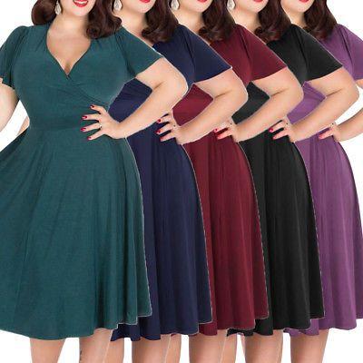 c1f27bb75ce81 Plus Size 3XL-9XL Vintage Rockabilly Women 50s Swing Dress Evening Party  Dress