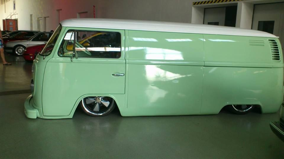 Vw sea green slammed bus no side windows my board for Wyoming valley motors vw service