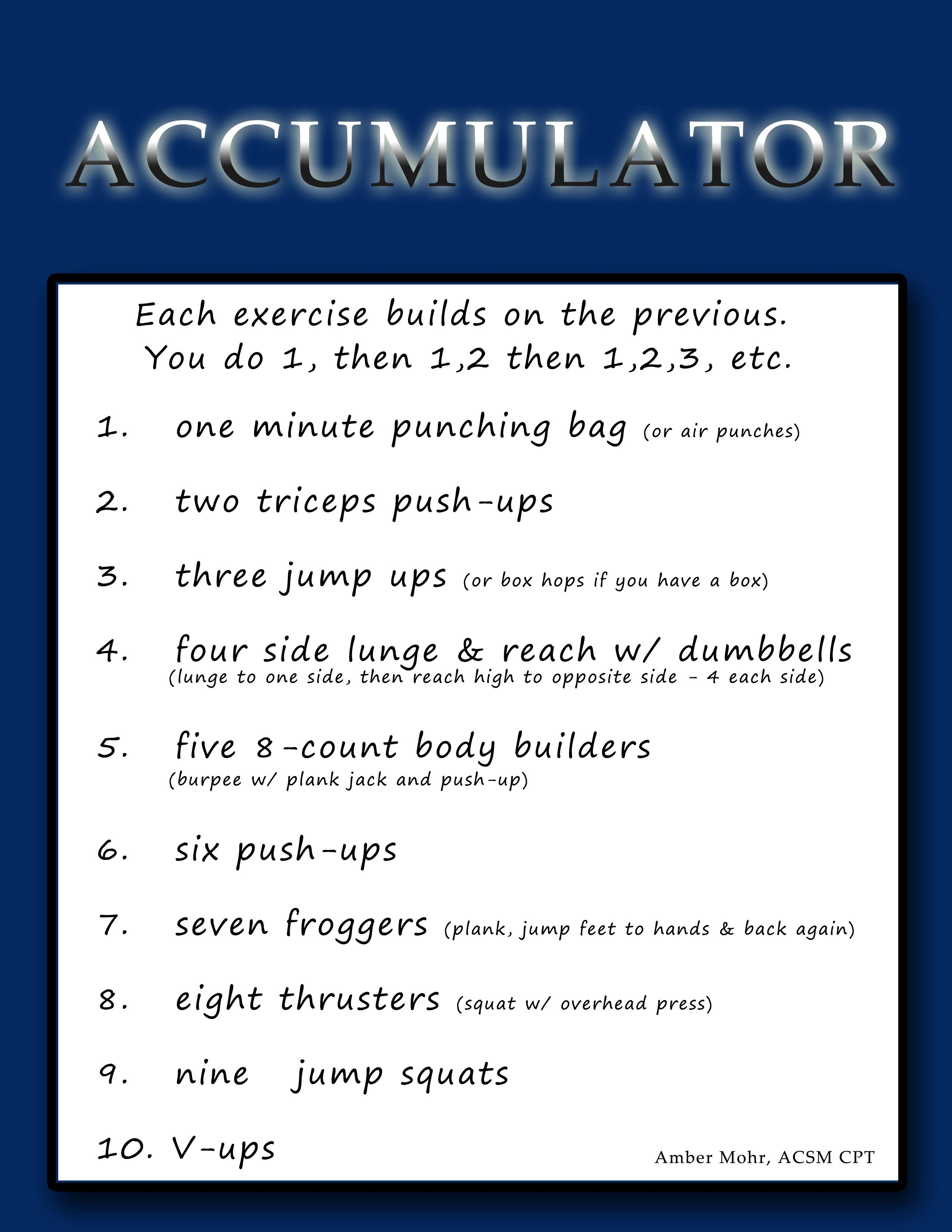 Accumulator Circuit Workout Each Exercise Builds On The One Before It Fitness Class Total Body Workout Strength Workout
