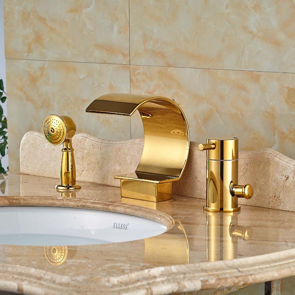 Single Handle 3pcs Brass Bathroom Bathtub Sink Mixer Tap Basin Brushed Nickel Faucet Set Gold Finsh