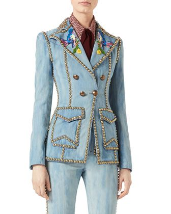 Embroidered Denim Jacket with Studs by Gucci at Neiman Marcus.