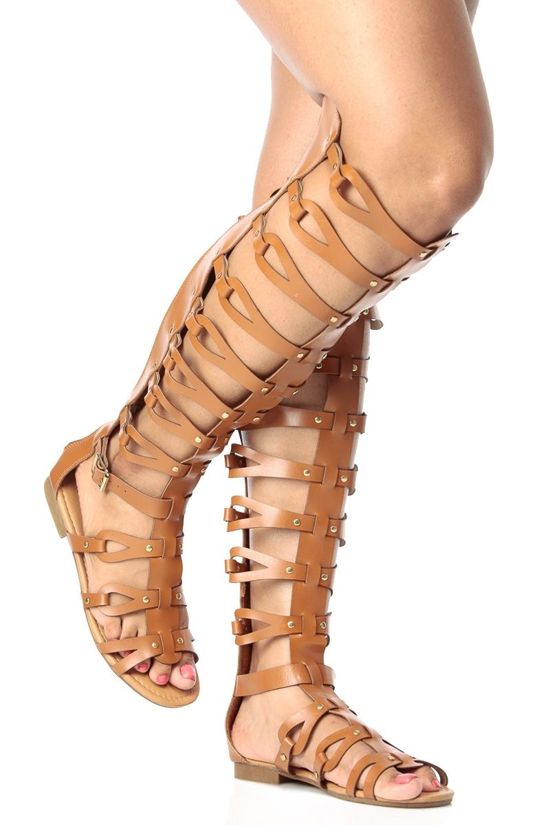 Tan Faux Leather Knee High Gladiator Sandals @ Cicihot Sandals ...