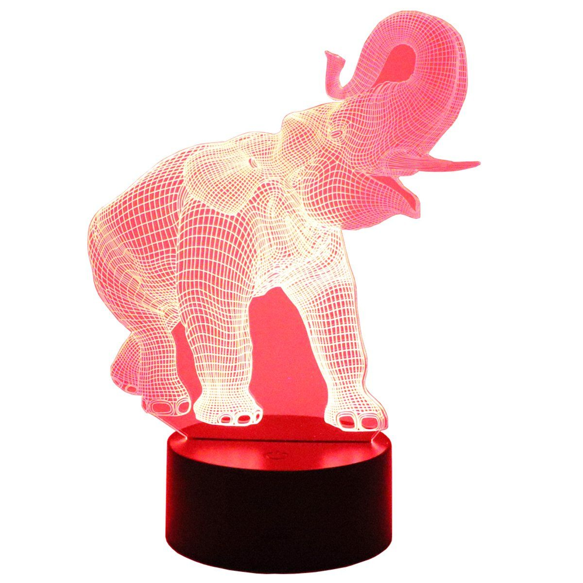Hguangs 3d Elephant Lamp Night Lamp 3d Lamp 3d Optical Illusion Night Light Table Light 7 Colors Changing Touch Control Gift For Light Table Elephant Lamp Lamp
