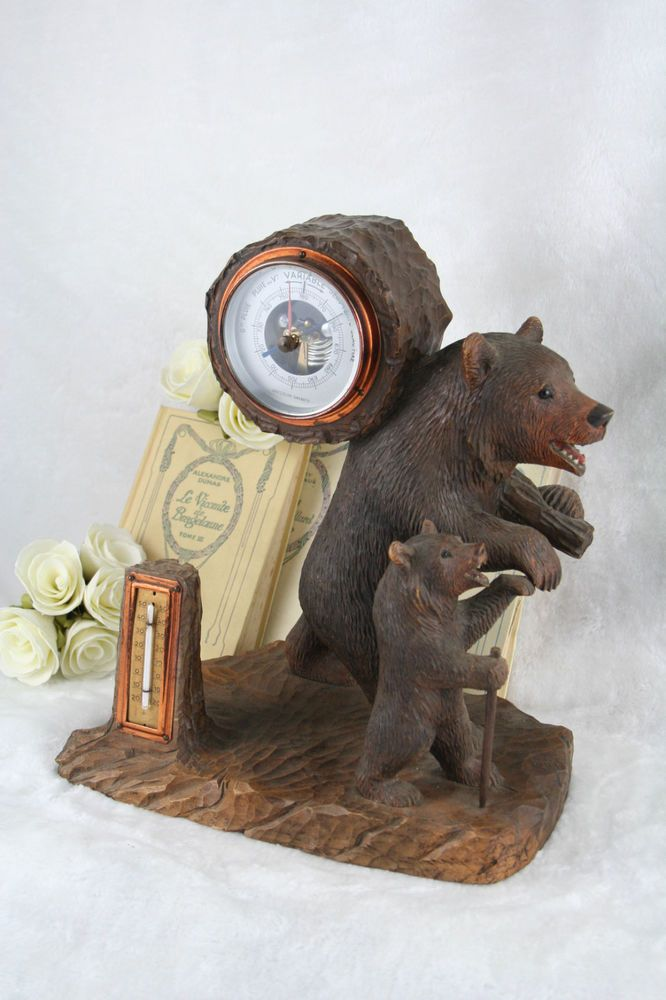 Exclusive Swiss Black Forest Carved Barometer Bear Couple 1900