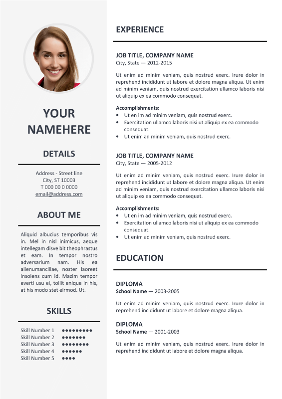 Free Elegant Resume Templates Ikebukuro Free Elegant Resume Template Gray For Ms Word  Job
