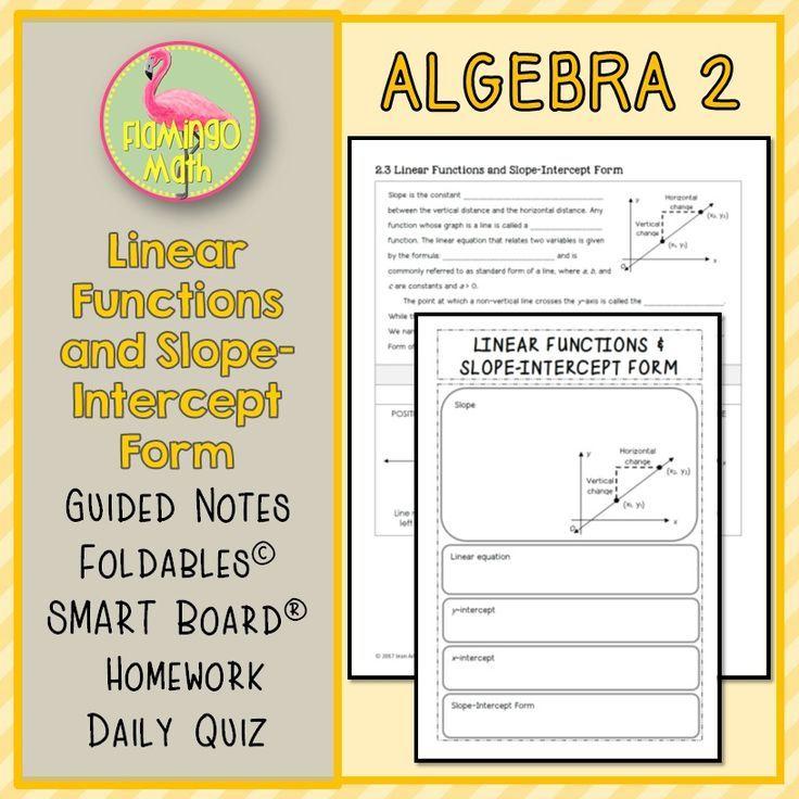 Algebra 2 Linear Functions And Slope Intercept Form Algebra 2
