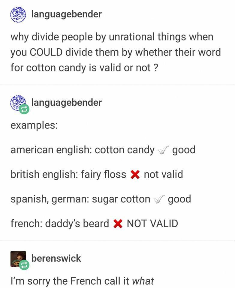 1 British People Say Candy Floss 2 French People Say Barbe A Papa Which Does Indeed Mean Daddy S Beard Frenchfunny Tumblr Funny Funny Quotes Humor