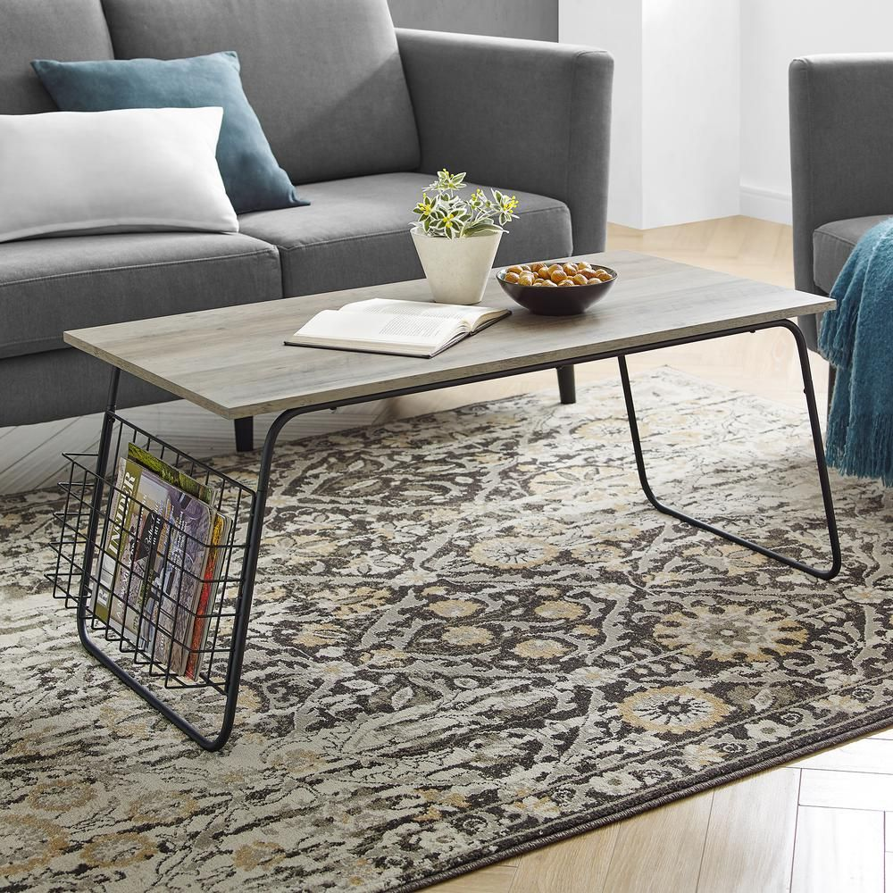 Welwick Designs Grey Wash Black Modern Coffee Table With Magazine Holder Hd8137 In 2020 Modern Coffee Tables Coffee Table Rectangle Table
