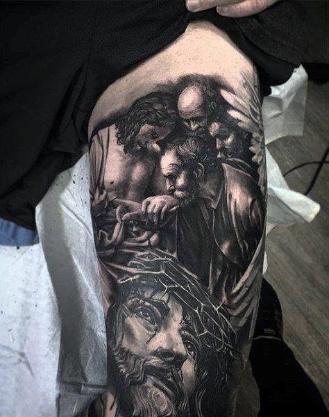 Inner Bicep Religious Tattoo