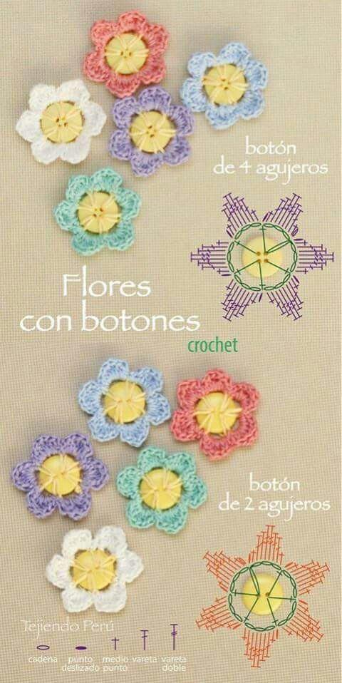 Flores   Apliques crochet   Pinterest   Flores y Puntos