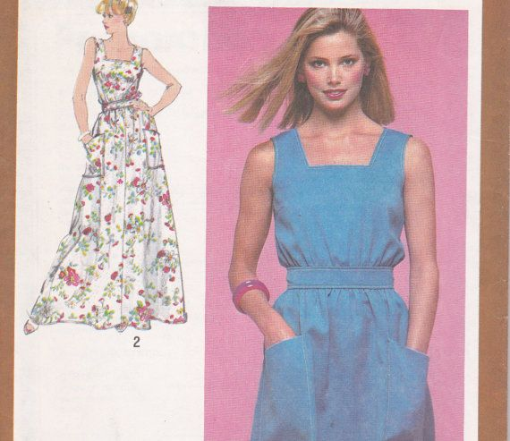 1980s summer dress sewing pattern long or short size 14 simplicity 9555, $5.00