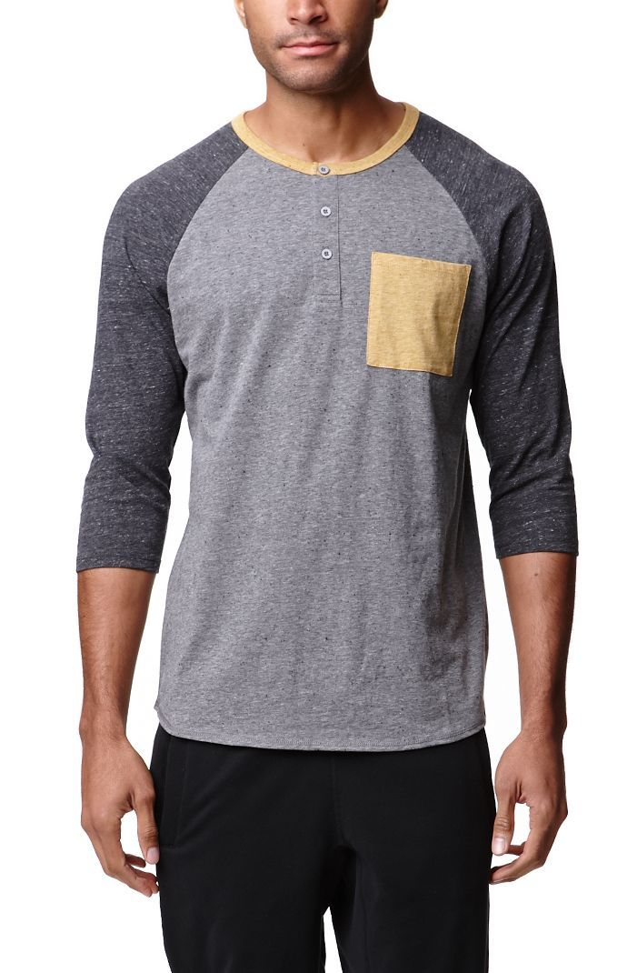 On The Byas Jared creates a speckled men's t-shirt found ... Baseball Shirt Fashion For Men