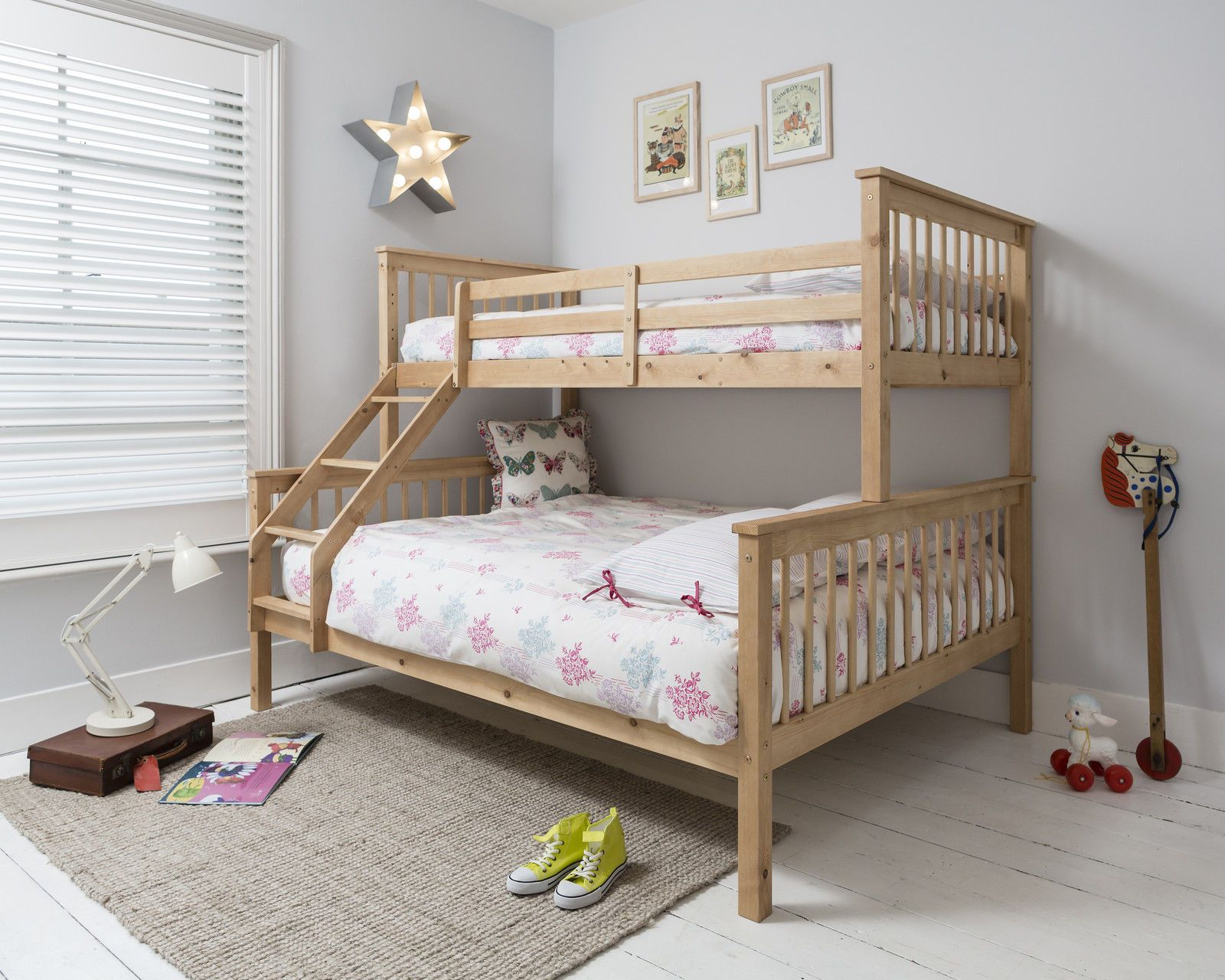 Triple Sleeper Bed, Bunk Bed , Double Bed in Pine Hanna in