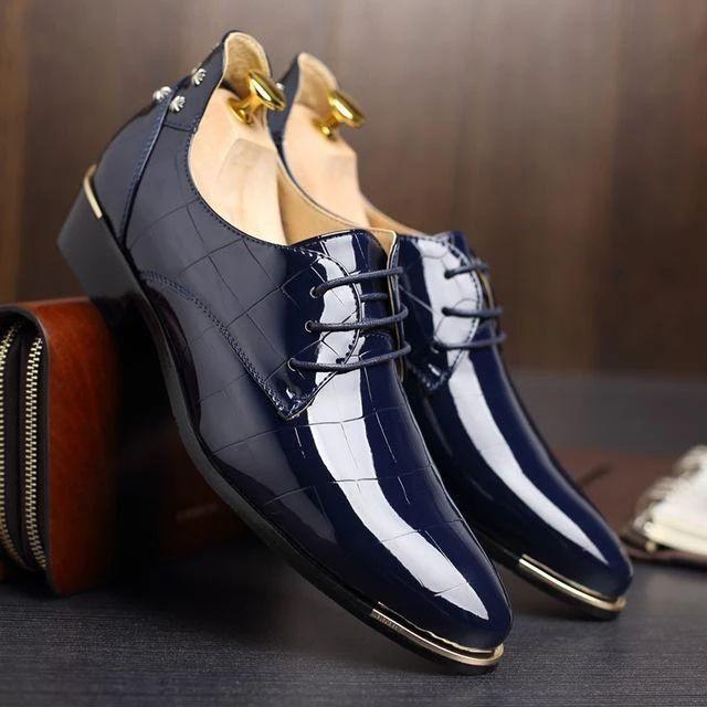 Remaches Zapatos de hombre Zapatos de vestir para fiesta de baile Zapatos de charol con punta puntiaguda Zapatos de boda  oxford shoes