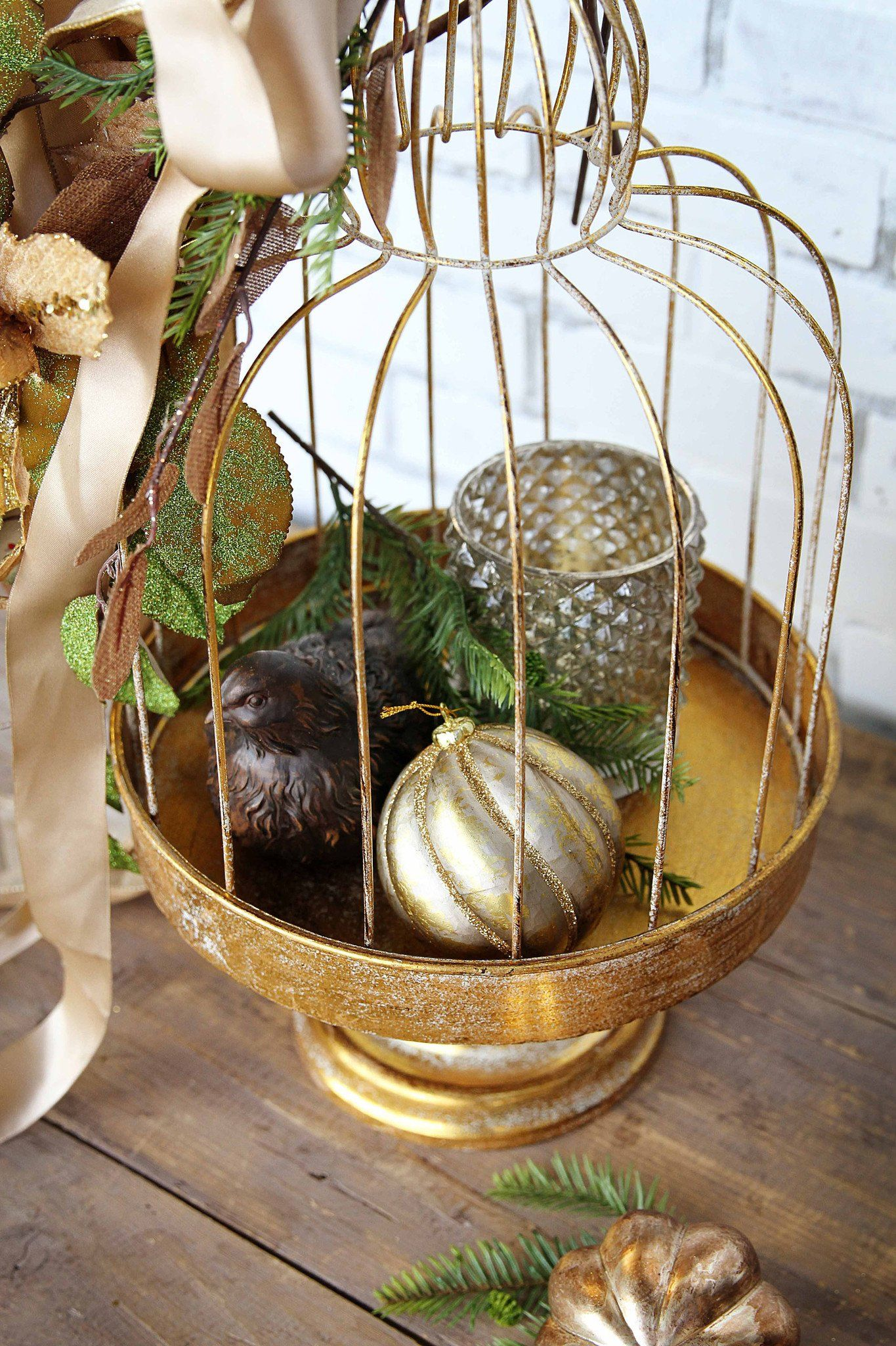 Bird Cage in Rust Gold Foil