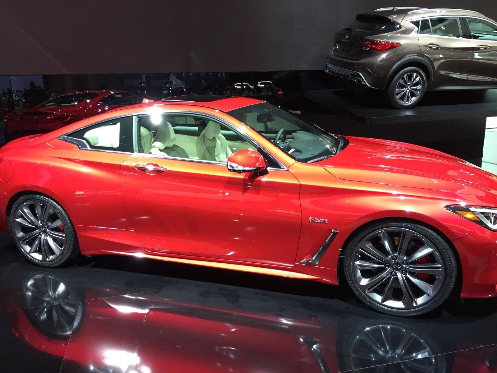 2017 infiniti sport coupe side shot in red shot at the naias 2016