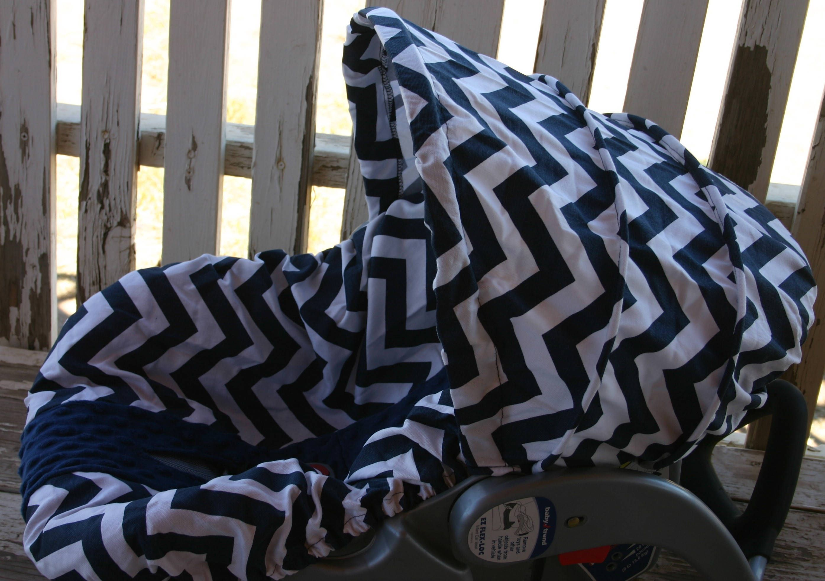 Ready To Ship Navy Blue And White Chevron With Navy Blue Minky