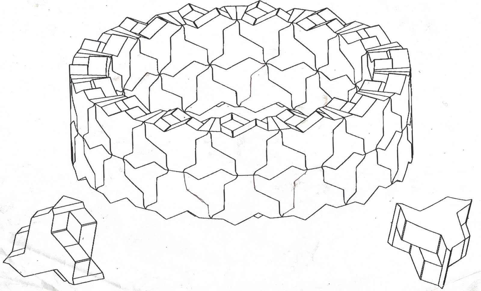 Topological interlocking structures, cylinder section