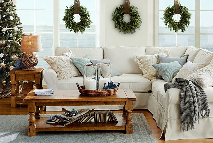 Coastal Christmas Pottery Barn Christmas Pinterest Front Rooms Pottery And Window