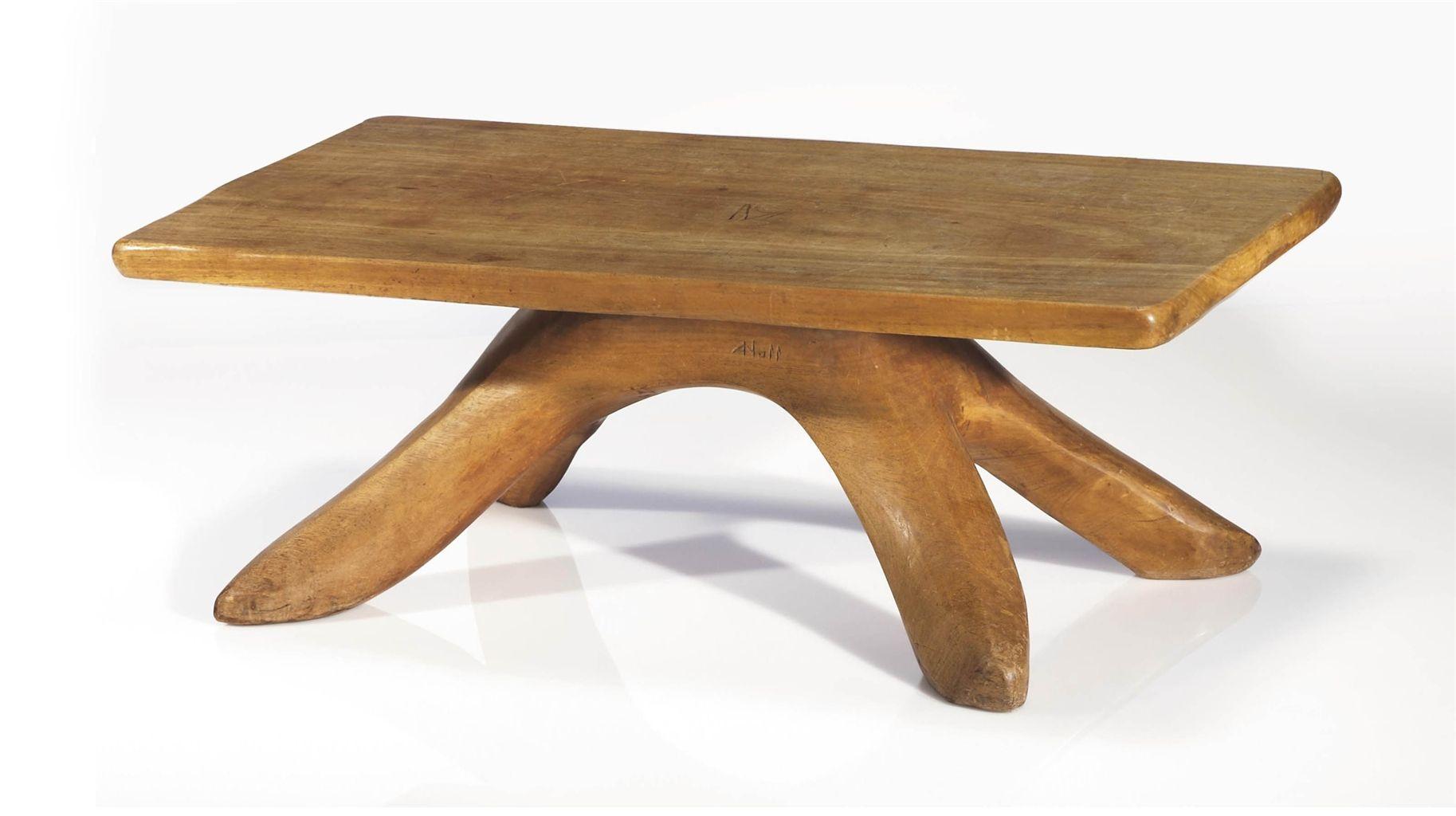 Alexandre Noll 1890 1970 Table Basse Vers 1940 1950 En Noyer Sculpte Hauteur 42 Cm 16 In Longueur 114 Cm 4 Table Basse Table Basse Design Table