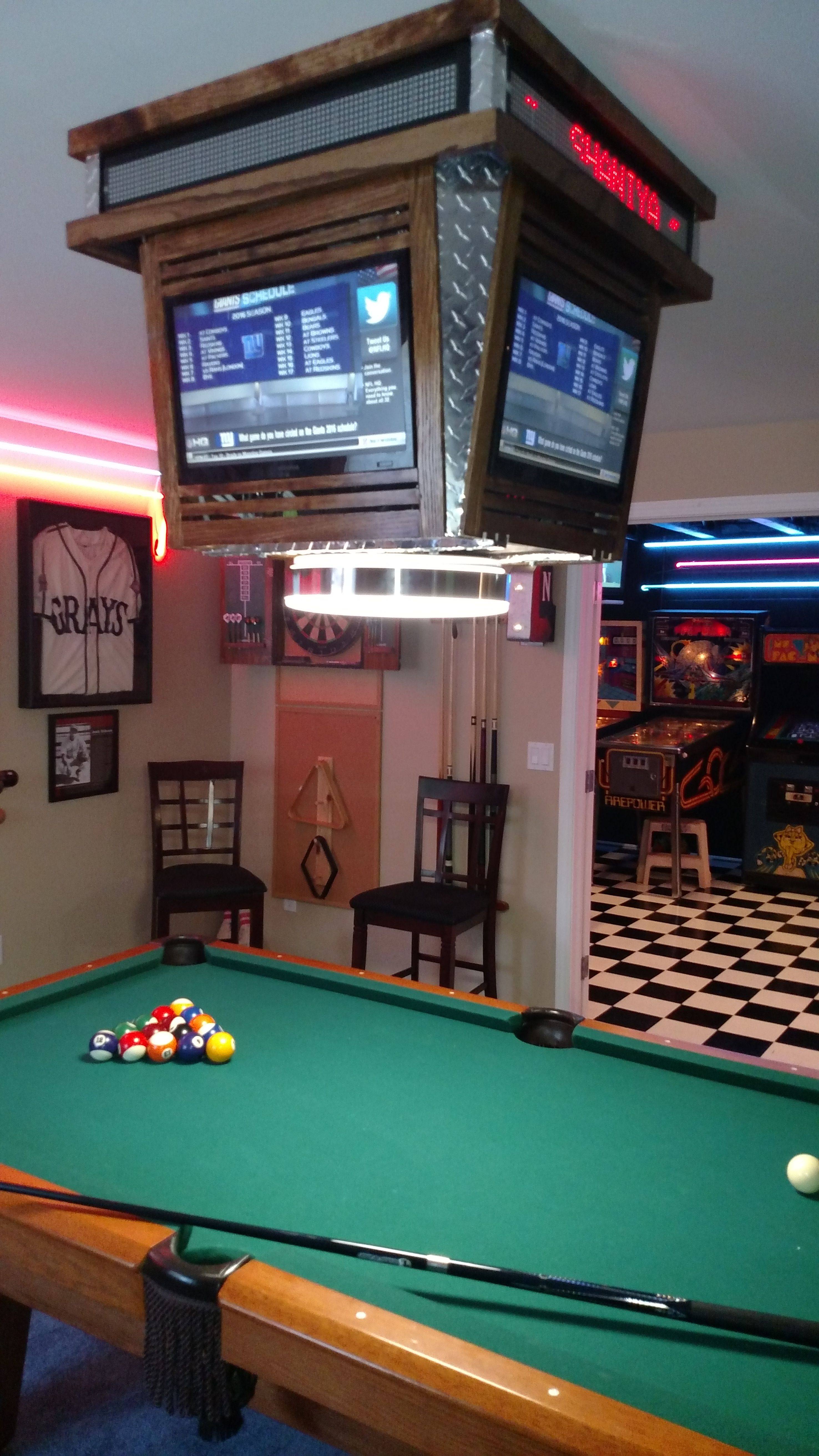 Pool table score board light with ultimate neon lit