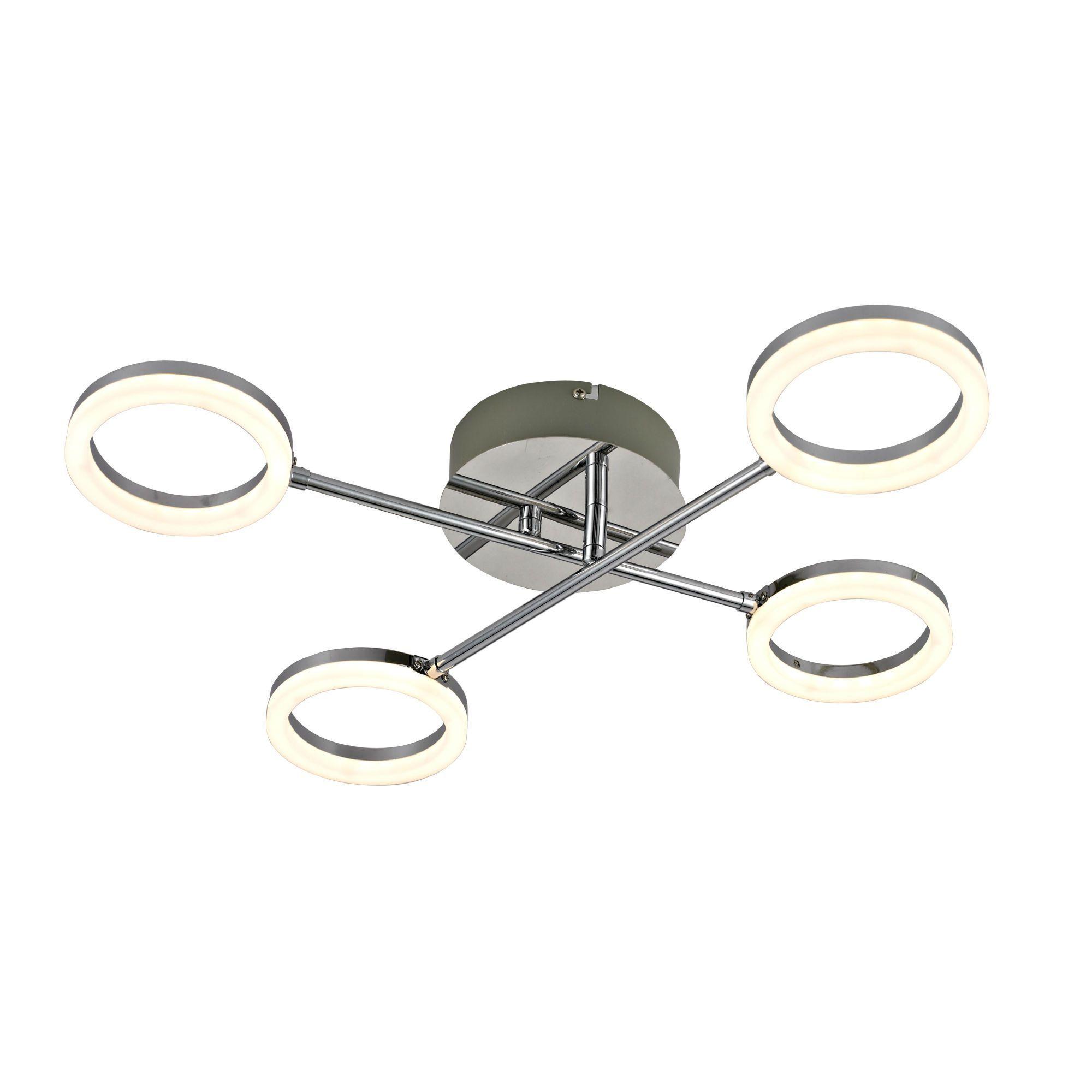 SOLDE: Plafonnier LED 4 Lumières Chrome L52,5cm   IRING Lustre Et Plafonnier  Inspire