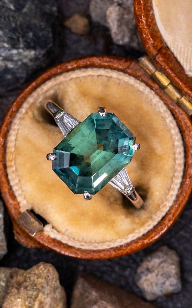 Photo of 5.9 Carat No Heat Blue to Green Montana Sapphire Ring