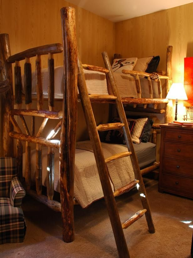 This woodgrain wallpaper is perfect for a rustic look for Log cabin style bunk beds