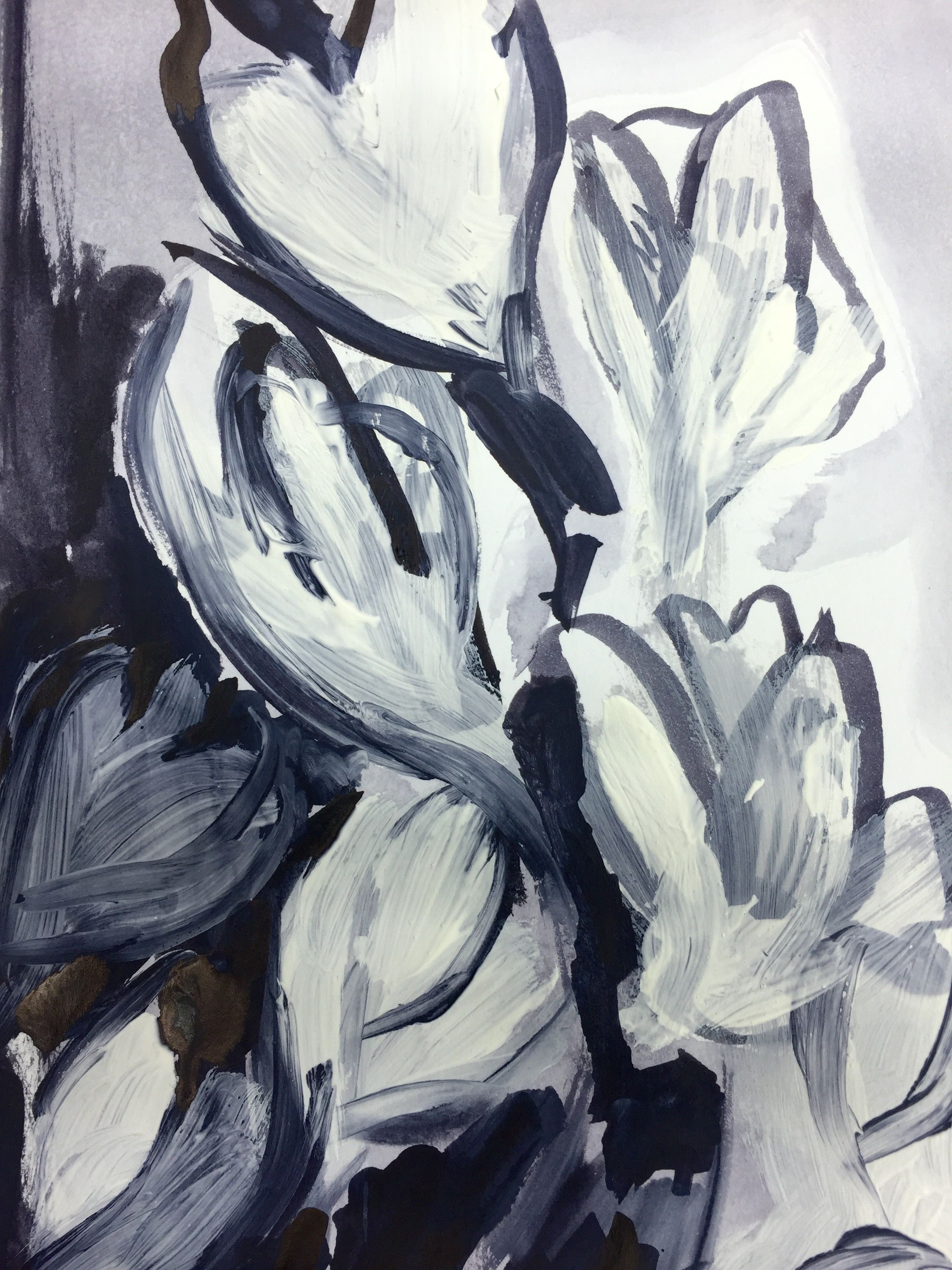 Ink Wash And Brush Studies Of Plants And Flowers Inspired By The
